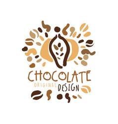 Chocolate hand drawn original logo design vector