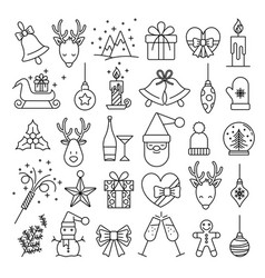 christmas line web 36 icons set on white vector image