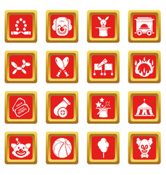 Circus icons set red square vector