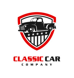 classic car shield logo design vector image