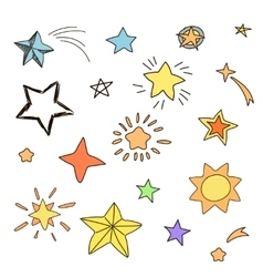 collection handdrawn stars in various shapes vector image