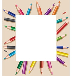 colored pencils under blank sheet of paper vector vector image