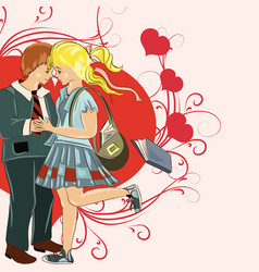 couple young girl and boy holding hands vector image