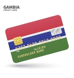 Credit card with Gambia flag background for bank vector