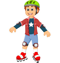 Cute boy cartoon playing roller skates vector