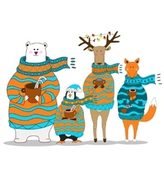 Cute fox christmas holiday greeting card vector image