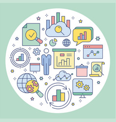 data analysis circle template flat icons for vector image