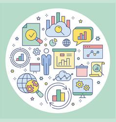 Data analysis circle template flat icons vector