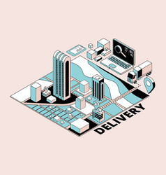 delivery concept retro isometric logistic vector image