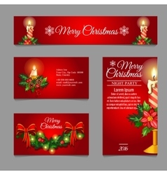 Different red cards with Christmas burning candles vector image