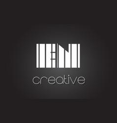 en e n letter logo design with white and black vector image