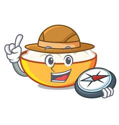Explorer cottage cheese mascot cartoon vector