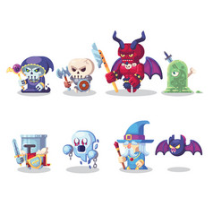 Fantasy rpg game character monster and hero icons vector