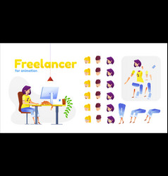 Female flat freelancer girl animation set vector
