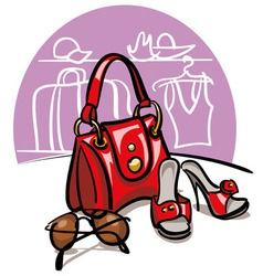 female handbag shoes and sunglasses vector image