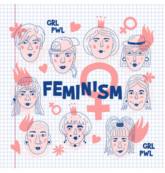 feminism poster womens faces icons on a sheet of vector image