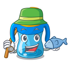 Fishing cartoon baby drinking from training cup vector