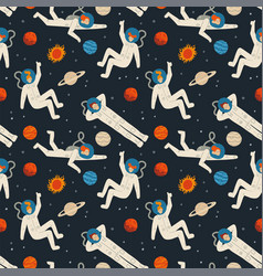 flat cartoon seamless pattern with cosmos elements vector image