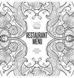 floral frame for restaurant menu vector image