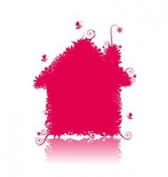 floral house shape vector image