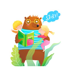 Forest bear reading book story to little kids boy vector