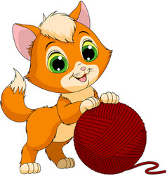 funny kitten with a ball threads vector image