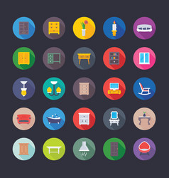 furniture flat icons pack vector image