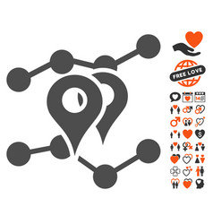 Geo markers trends icon with lovely bonus vector
