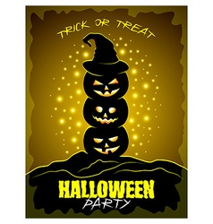 Halloween party poster with three pumpkins vector