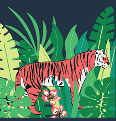 hand drawn red tiger with exotic tropical leaves vector image