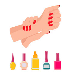 Hands and nail polish poster vector