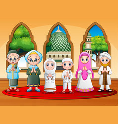 Happy muslim family wishing at mosque vector
