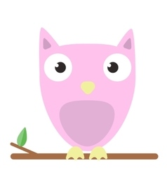 Image of a cute pink owl on white vector