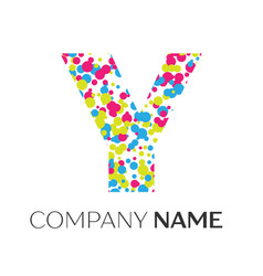 letter y logo with blue yellow red particles vector image