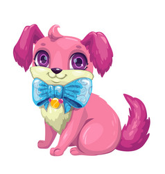 little cute cartoon fluffy puppy vector image