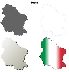 Lucca blank detailed outline map set vector