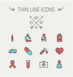Medicine thin line icon set vector