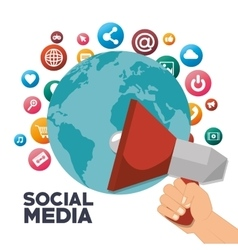 megaphone global social media isolated design vector image