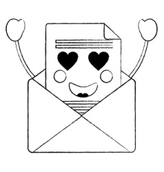 message envelope heart eyes kawaii icon im vector image