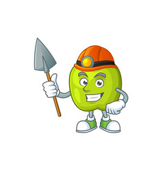 miner granny smith green apple cartoon mascot vector image
