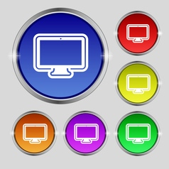 Monitor icon sign Round symbol on bright colourful vector