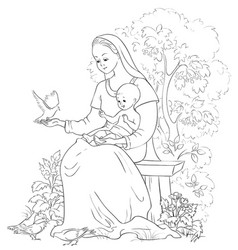 Mother mary with bajesus coloring page vector