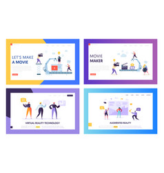 Movie making set concept landing page people vector