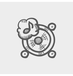 Music tambourine sketch icon vector