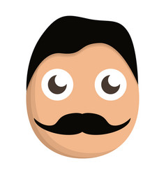 mustache man face icon cartoon style vector image