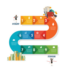 Nine step path infographic vector