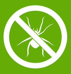 no spider sign icon green vector image