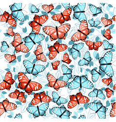 pattern with butterflies and leaves 1 vector image