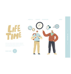 People running out time landing page template vector