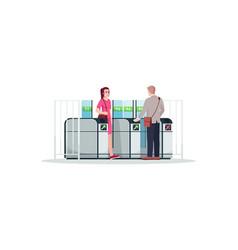 People using public transport semi flat rgb color vector